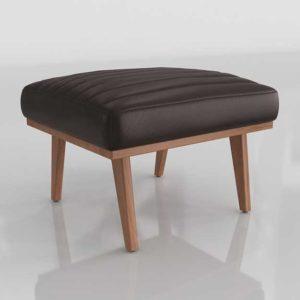 3D Designer&GE Cavett Leather Channel Ottoman Libby Fudge
