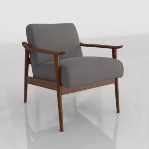 Westelm Mid Century Show Chair Faux Suede Charcoal Herringbone