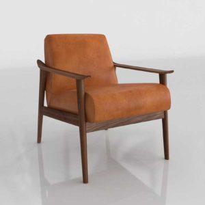 WestElm Mid Century Show Wood Chair Saddle Leather Espresso