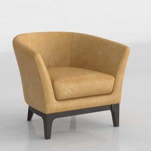 Westelm Tulip Leather Chair Caramel