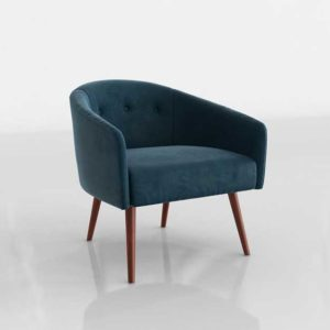 Westelm Eve Buttoned Chair Peacock Velvet