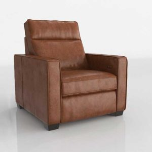 Westelm Henry Leather Power Recliner Chair Tobacco