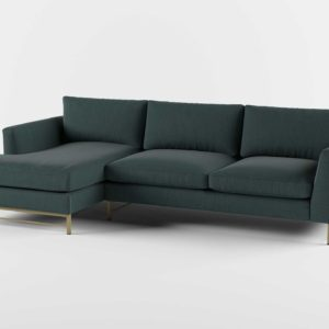 Tyson 2Piece Left Arm Chaise Sectional with Brass Base Flanders Teal