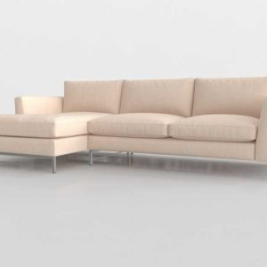 CB Tyson 2 Piece Left Arm Chaise Sectional Steel Base Vail Linen