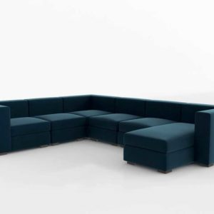 Interiordefine Toby Corner Sectional With Left Chaise Indigo Static Weave
