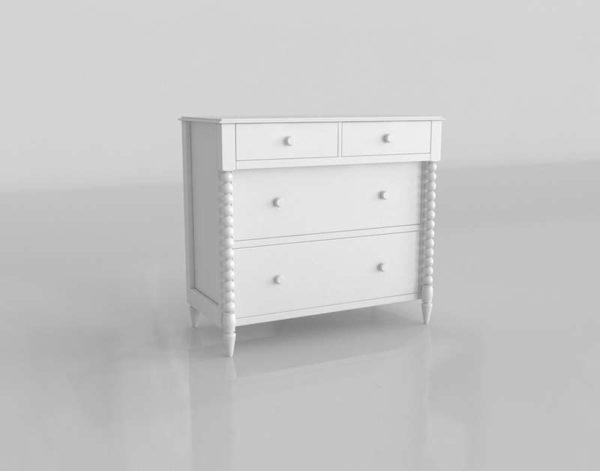 Diseño 3D Crate&Barrel Comoda Jenny Lind