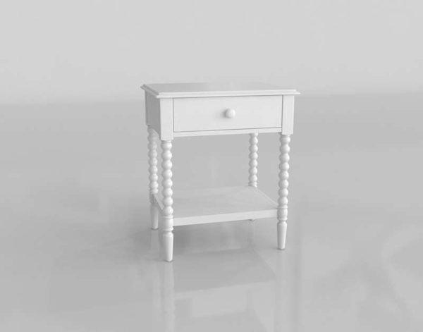 Diseño 3D Crate&Barrel Mesita de Noche Jenny Lind 01