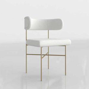 InteriorDefine Audrey 3D Dining Chair Swan Cloth And Brass Legs