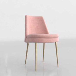 Westelm Finley Low Back Velvet 3D Dining Chair