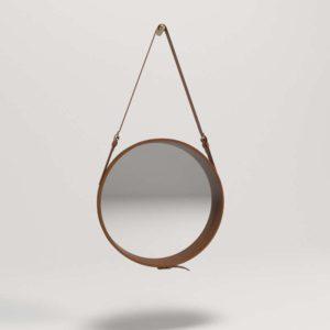 3D Mirror HomeMakers Round Brown