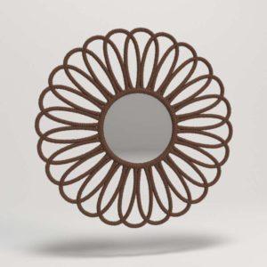 3D Mirror Jute Flower Brown