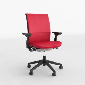 Silla de Oficina 3D C&B Steelcase de Piel Roja