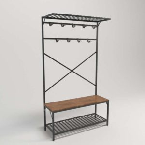 3D Coat Rack with Bench PotteryBarn Andrew