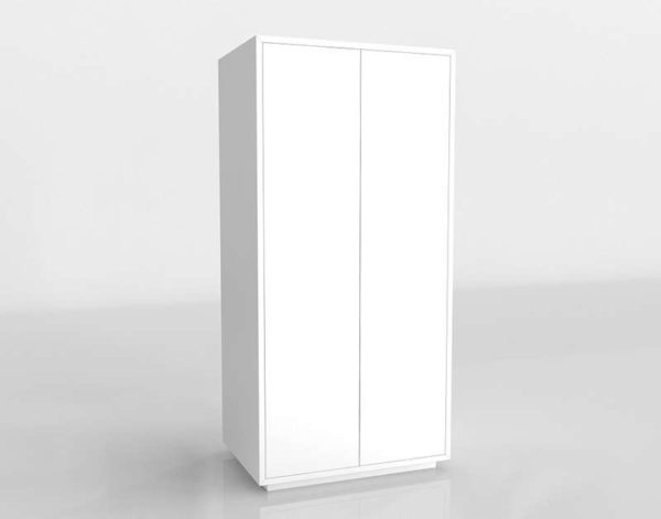 3D Wardrobe Gallery White 2 Door