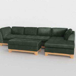 Sofa 3D Seccional C&B de Piel con Otomana