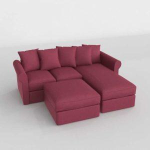 Sofa 3D Seccional PB Chaise Longue con Otomana