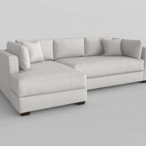 Sofá 3D Seccional AFW Plateado Chaise