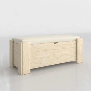 3D Trunk MueblesLufe Wood Beige Upholstered
