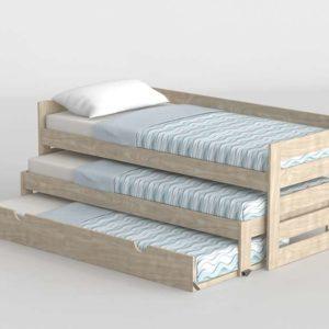 3D Bed MueblesLufe with 2 Underbed