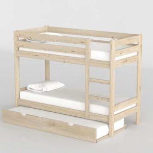 3D Bunk Bed MueblesLufe Natural Wood with Underbed