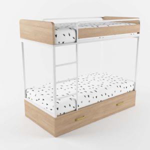 3D Bunk Bed MueblesRey Wood with Underbed