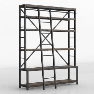 3D Bookcase Kiona Industrial Horses