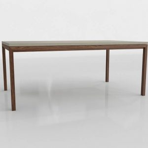 Parsons Natural Wood Dining Table 3D Model