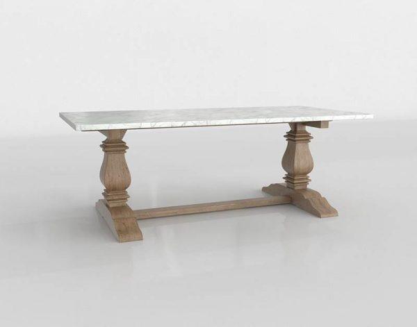 Trestle Rectangular Dining Table 3D Model