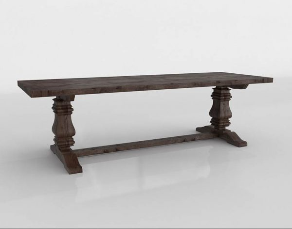 Salvaged Trestle Dining Table 3D Model