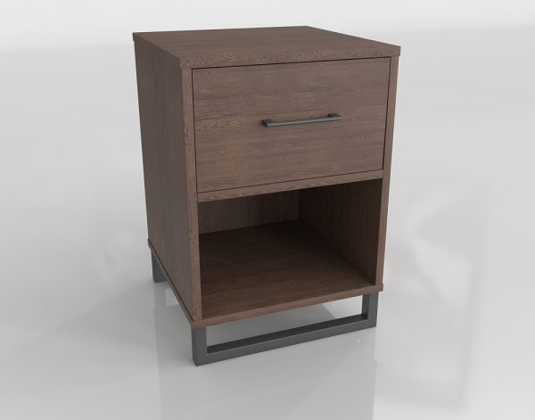 Wood and Iron Nightstand 3D Model