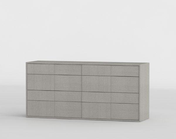 Forte Matte Grey Oak Double Dresser 3D Model