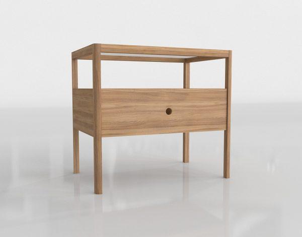 Spindle Oak Nightstand 3D Model