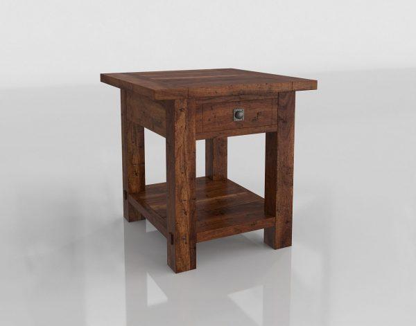 Mahogany Square End Table 3D Model