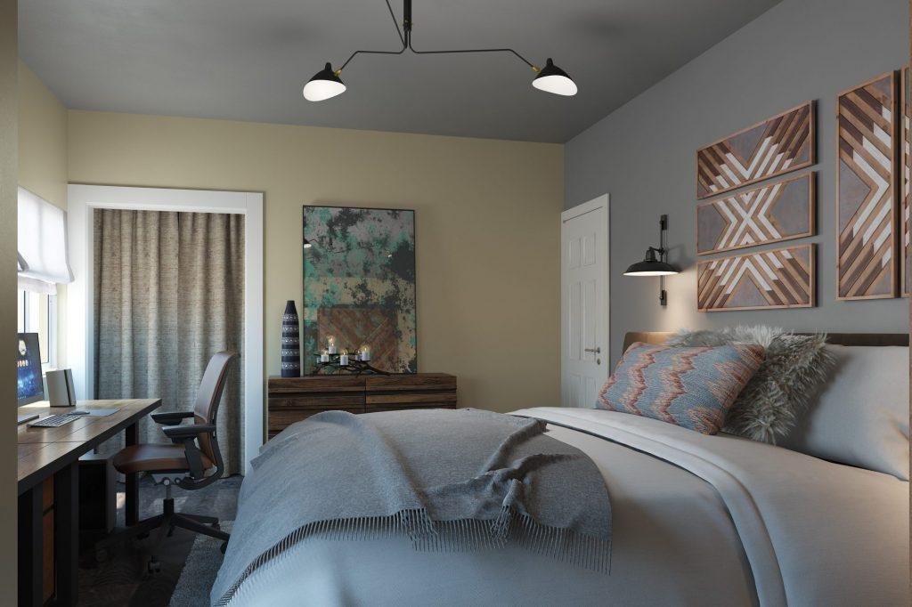 Renderizado de interiores para un dormitorio