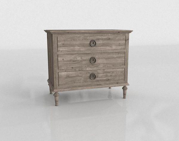 Antiqued Oak Closed Nightstand 3D Model