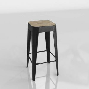 Modelo 3D Taburete de Madera y Hierro