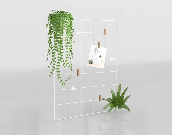 Modelo 3D Tablón Metal con Plantas Artificiales