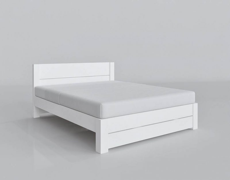 White King Size bed 3D Model