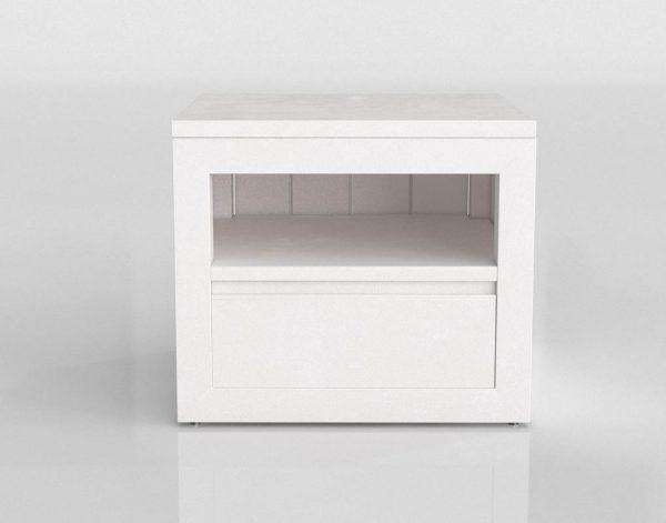 Modelo 3D Mesita de Noche White con Cajón