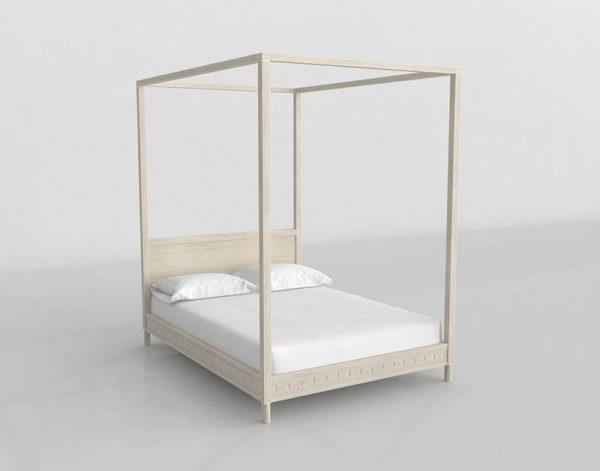 Zen Canopy Bed 3D Model
